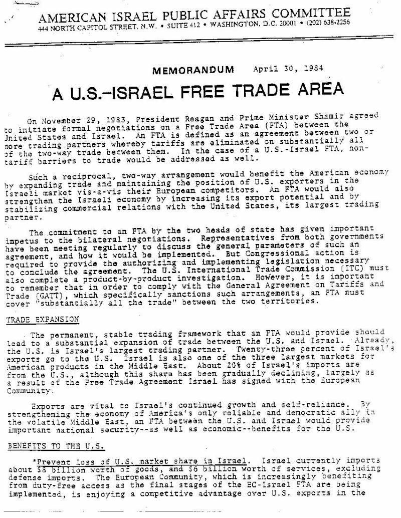 04301984 Aipac Memorandum A Us Israel Free Trade Area