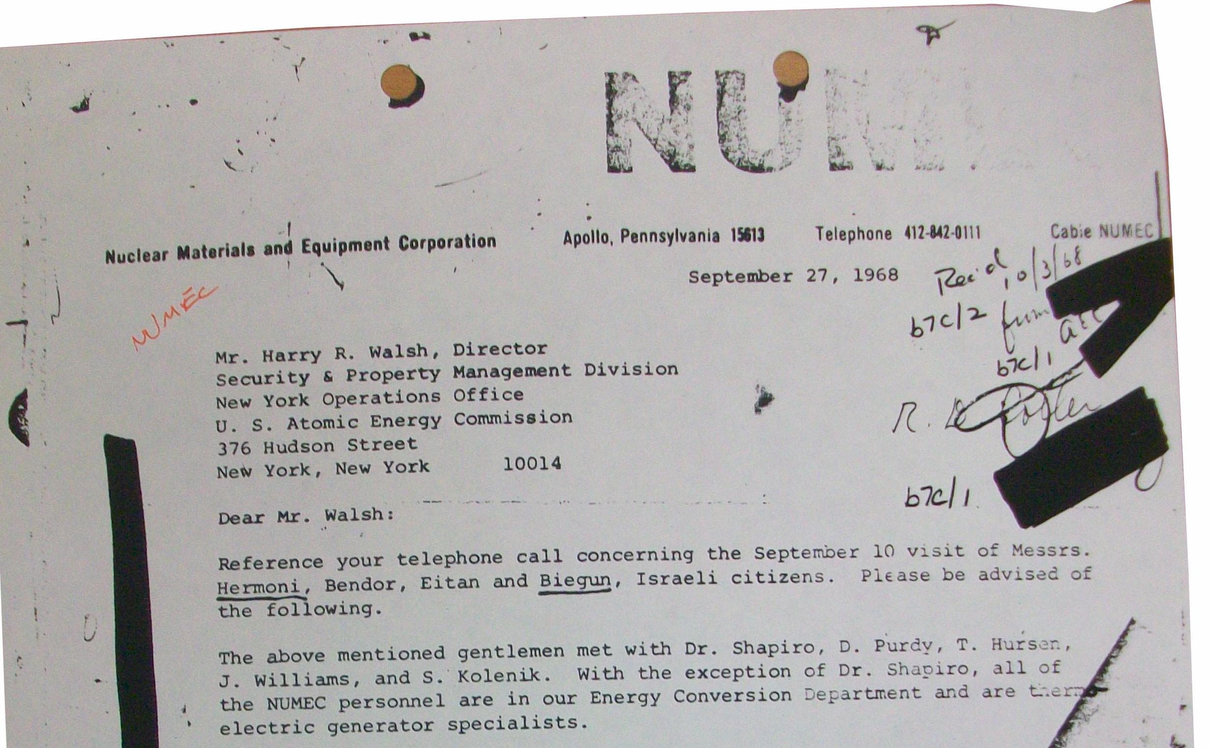 NUMEC- Zalman Shapiro - Uranium diversion to Israel, FBI, CIA files